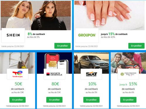 Flash CashBack iGraal - S33 - SheIn-Groupon-Yves Rocher-Sixt-TotalEnergies-Société Générale - 500