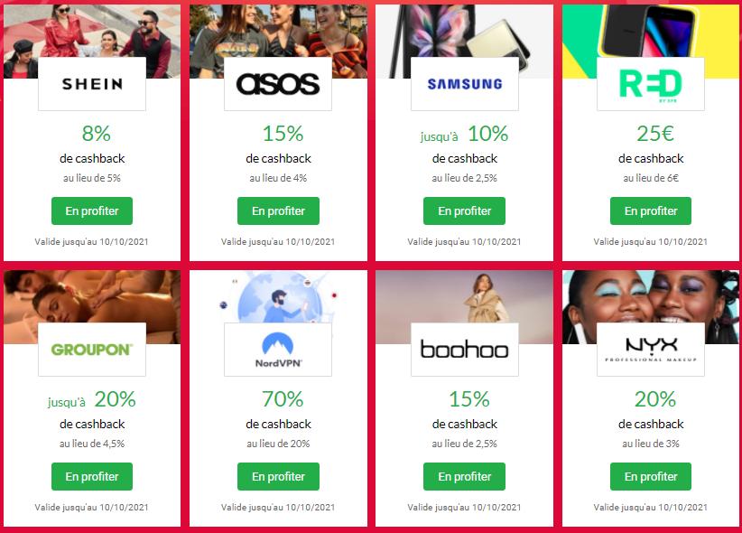 iGraal - Super Sunday - CashBack & Codes promo - SheIn - Asos - Groupon - Samsung - Boohoo - Red - NYX - NordVPN - 20211010